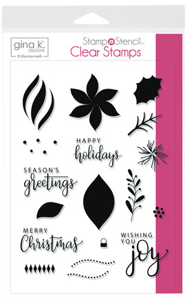 Gina K. Designs StampnStencil Stamp Set, Wishing You Joy picture