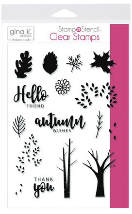 Gina K. Designs StampnStencil Stamp Set, Autumn Wishes picture