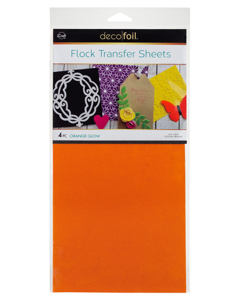 Deco Foil - 6 x 12 Flock Transfer Sheets Deco Foil - Orange Glow