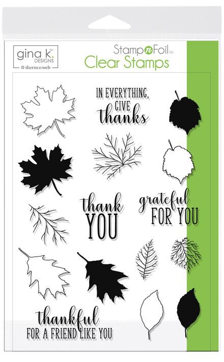 Gina K. Designs StampnFoil™ Stamp Set • Thankful Leaves picture