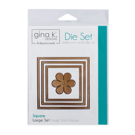 Gina K. Designs (3) Nested Square Dies • Single Stitch Design • Large Set picture