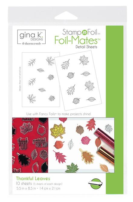 Gina K. Designs StampnFoil™ Foil-Mates Detail Sheet • Thankful Leaves picture