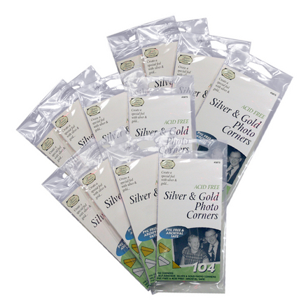 Silver & Gold Photo Corners (12 packs of 104 included) picture