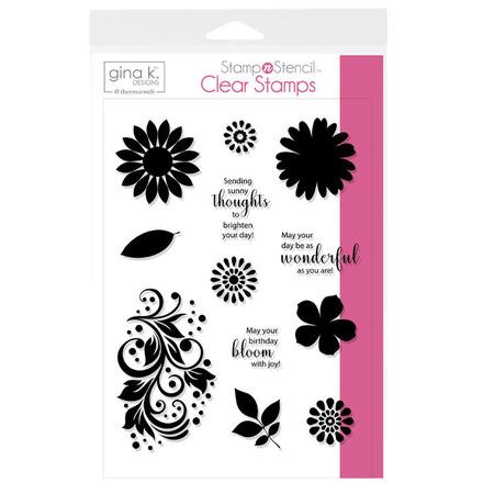 Gina K. Designs StampnStencil Stamp Set - Crazy Daisy picture