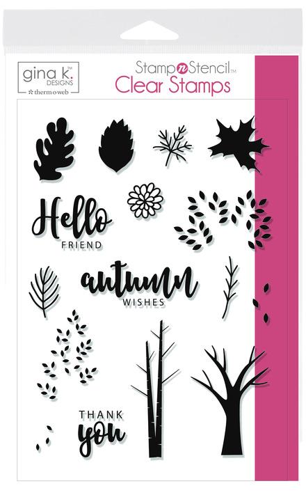 Gina K. Designs StampnStencil Stamp Set, Autumn Wishes picture