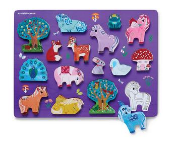 Let's Play 16 pc. Wood Puzzle - Unicorn Garden picture