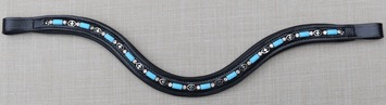 RED BARN CURVED BLUE BEAD & CRYSTAL BROWBAND picture