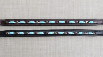 RED BARN BLUE BEAD BROWBAND picture