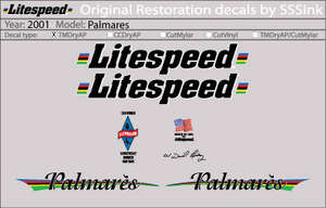 2001 Palmares Decal Set picture