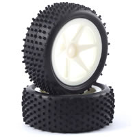 Fastrax 1/10th Mounted Buggy Tyres Lp 'Stub' Front (Spoked) picture