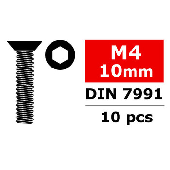 Corally Steel Screws M4 X 10MM Hex Flat Head 10 Pcs picture