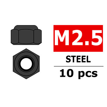 Corally Steel Nylstop Nut M2.5 Black Coated 10 Pcs picture
