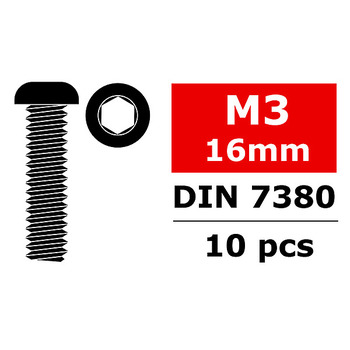 Corally Steel Screws M3 X 16MM Hex Button Head 10 Pcs picture
