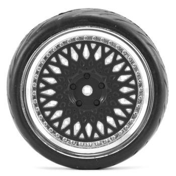 Fastrax 1/10 Street/Tread Tyre Classic Black/Chrome Wheel picture