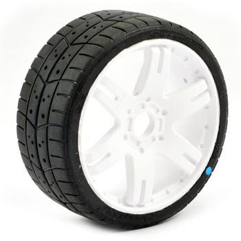 Sweep 1/8Th Gt Tread Glued 45deg Tyres W/Belt / 6ix Pak White Wheels / Basic (Pr) picture