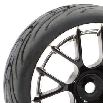 Fastrax 1/10 Street/Tread Tyre 14Sp Black/Chrome Wheel picture