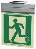 7230-L-2-ACR-B P50, 2FC, Single Sided, Left, Acr w/Brkt, Green Running Man Egress Sign