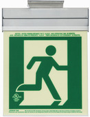 7230-R-2-ACR-B P50, 2FC, Single Sided, Right, Acr w/Brkt, Green Running Man Egress Sign