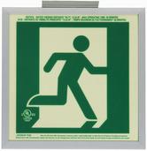 7230-R-2-SAF-B  P50, 2FC, Single Sided, Right, Alu w/Brkt, Green Running Man Egress Sign