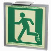 7230-L-2-SAF-B P50, 2FC, Single Sided, Left, Alu w/Brkt, Green Running Man Egress Sign