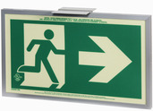 7231-R-A-2-SAF-B  P50, 2FC, Single Sided, Right Arrow, Alu w/Brkt, Green Running Man Egress Sign