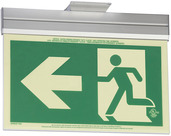 7231-A-2-ACR-2-B P50, 2FC, Double Sided, Arrow, Acr w/Brkt, Green Running Man Egress Sign