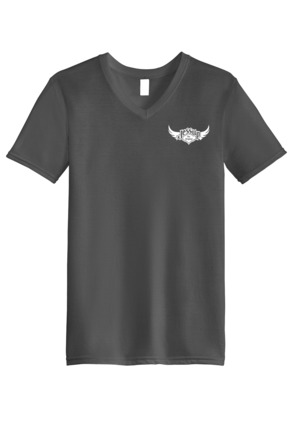 Jessup Adult V-Neck, Left Chest Logo T-Shirt - Gray XL picture