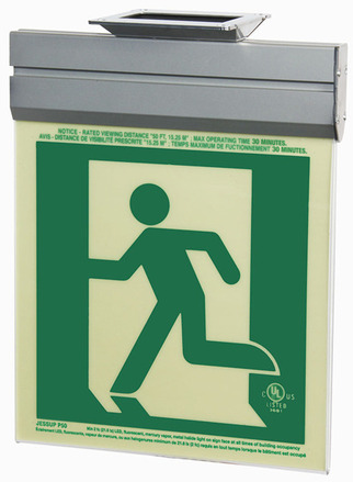 7230-L-2-ACR-B P50, 2FC, Single Sided, Left, Acr w/Brkt, Green Running Man Egress Sign picture