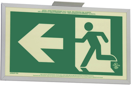 7231-A-2-SAF-2-B  P50, 2FC, Double Sided, Arrow, Alu w/Brkt, Green Running Man Egress Sign picture